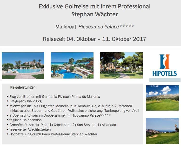 Golfreise Golfschule Wächter - 04.Okt. bis 11.Okt. 2017