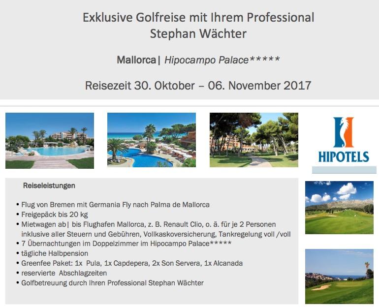 Golfreise Golfschule Wächter - 30.Okt. bis 06.Nov. 2017